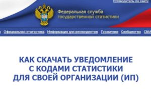 Уведомление статистика свидетельство о государственной регистрации