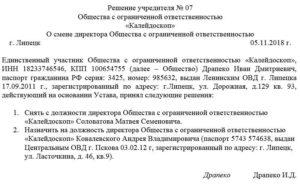 Образец решения учредителя о смене директора ооо