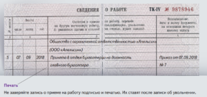 Заполнение трудовых книжек в примерах 2019