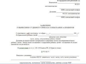 Заявление о вынесении судебного приказа о взыскании алиментов образец 2019