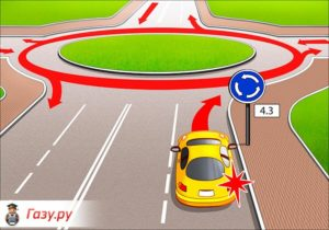 При въезде на круговое движение поворотники