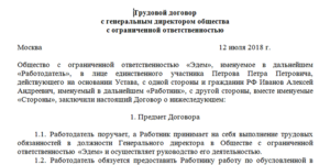 Трудовой договор с директором муп образец