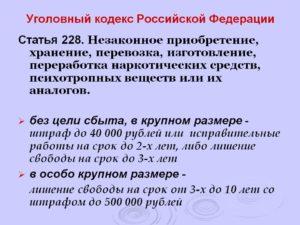 Статья 228 ч 3 ук рф в 2019 году и мера наказания