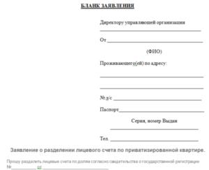Заявление о разделе лицевого счета в муниципальной квартире образец