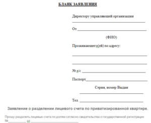 Заявление о разделе лицевого счета в муниципальной квартире