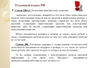 Что грозит при статье ч 1 ст 228 ук рф хранение 2019