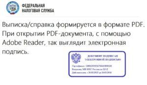 Выписка с налоговой с цифровой подписью