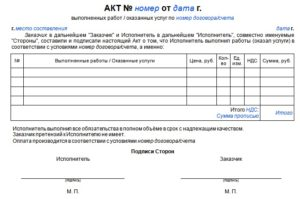 Акт выполненных работ без договора образец