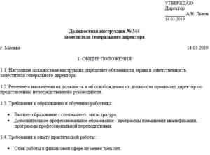 Должностная инструкция заместителя директора строительной организации 2019