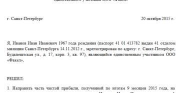 Протокол учредителя о выплате дивидендов образец