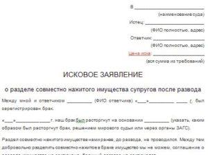 Исковое заявление о разделе квартиры после развода образец