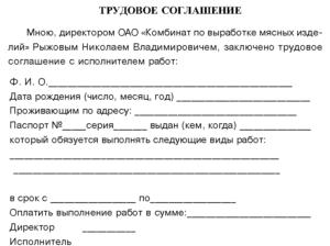 Договор трудового найма без трудовой книжки образец