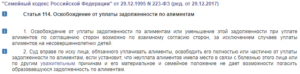 Статья 114 ск рф освобождение от уплаты задолженности по алиментам